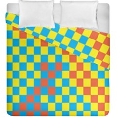 Optical Illusions Plaid Line Yellow Blue Red Flag Duvet Cover Double Side (king Size) by Alisyart