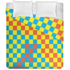 Optical Illusions Plaid Line Yellow Blue Red Flag Duvet Cover Double Side (california King Size) by Alisyart