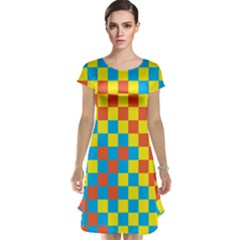 Optical Illusions Plaid Line Yellow Blue Red Flag Cap Sleeve Nightdress by Alisyart