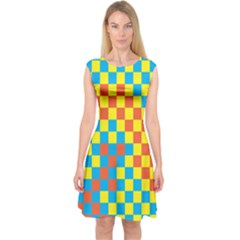 Optical Illusions Plaid Line Yellow Blue Red Flag Capsleeve Midi Dress