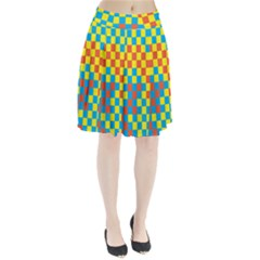Optical Illusions Plaid Line Yellow Blue Red Flag Pleated Skirt