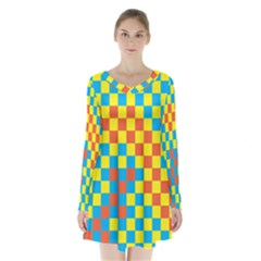 Optical Illusions Plaid Line Yellow Blue Red Flag Long Sleeve Velvet V Neck Dress