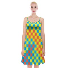 Optical Illusions Plaid Line Yellow Blue Red Flag Spaghetti Strap Velvet Dress