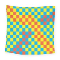 Optical Illusions Plaid Line Yellow Blue Red Flag Square Tapestry (large) by Alisyart