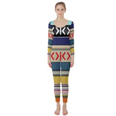 Original Code Rainbow Color Chevron Wave Line Long Sleeve Catsuit