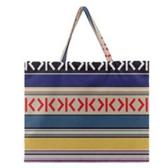 Original Code Rainbow Color Chevron Wave Line Zipper Large Tote Bag by Alisyart