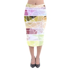 Geometric Mosaic Line Rainbow Velvet Midi Pencil Skirt by Alisyart