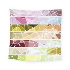 Geometric Mosaic Line Rainbow Square Tapestry (small) by Alisyart