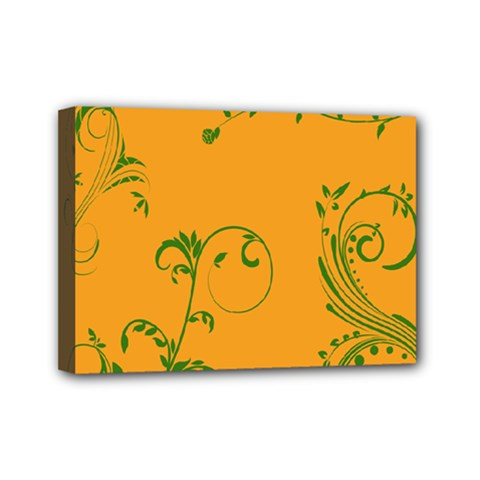 Nature Leaf Green Orange Mini Canvas 7  X 5  by Alisyart