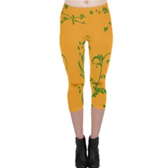 Nature Leaf Green Orange Capri Leggings  by Alisyart