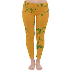 Nature Leaf Green Orange Classic Winter Leggings