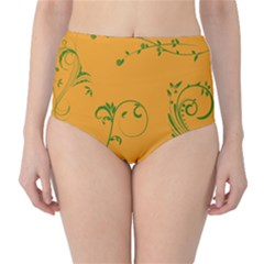 Nature Leaf Green Orange High Waist Bikini Bottoms