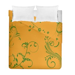 Nature Leaf Green Orange Duvet Cover Double Side (full/ Double Size)