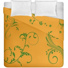 Nature Leaf Green Orange Duvet Cover Double Side (king Size) by Alisyart