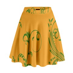Nature Leaf Green Orange High Waist Skirt