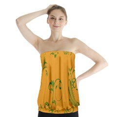 Nature Leaf Green Orange Strapless Top