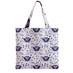 Heart Love Valentine Flower Floral Purple Grocery Tote Bag by Alisyart