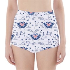 Heart Love Valentine Flower Floral Purple High-waisted Bikini Bottoms by Alisyart
