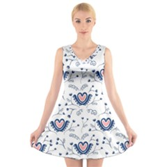 Heart Love Valentine Flower Floral Purple V Neck Sleeveless Skater Dress