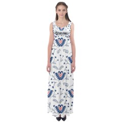 Heart Love Valentine Flower Floral Purple Empire Waist Maxi Dress