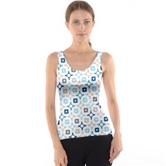 Plaid Line Chevron Wave Blue Grey Circle Tank Top by Alisyart