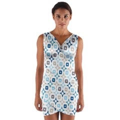 Plaid Line Chevron Wave Blue Grey Circle Wrap Front Bodycon Dress