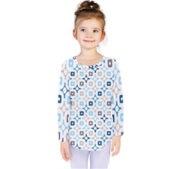 Plaid Line Chevron Wave Blue Grey Circle Kids  Long Sleeve Tee