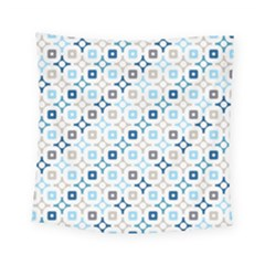 Plaid Line Chevron Wave Blue Grey Circle Square Tapestry (small)