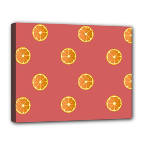 Oranges Lime Fruit Red Circle Canvas 14  X 11  by Alisyart