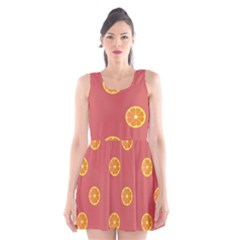 Oranges Lime Fruit Red Circle Scoop Neck Skater Dress by Alisyart