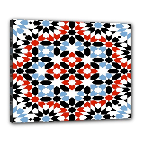 Oriental Star Plaid Triangle Red Black Blue White Canvas 20  X 16  by Alisyart