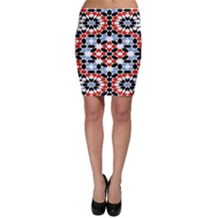 Oriental Star Plaid Triangle Red Black Blue White Bodycon Skirt