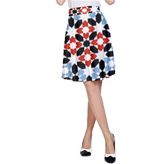 Oriental Star Plaid Triangle Red Black Blue White A-line Skirt