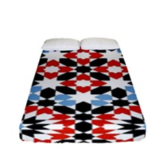 Oriental Star Plaid Triangle Red Black Blue White Fitted Sheet (full/ Double Size) by Alisyart