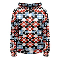 Oriental Star Plaid Triangle Red Black Blue White Women s Pullover Hoodie