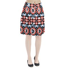 Oriental Star Plaid Triangle Red Black Blue White Pleated Skirt by Alisyart