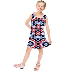Oriental Star Plaid Triangle Red Black Blue White Kids  Tunic Dress by Alisyart