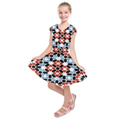 Oriental Star Plaid Triangle Red Black Blue White Kids  Short Sleeve Dress