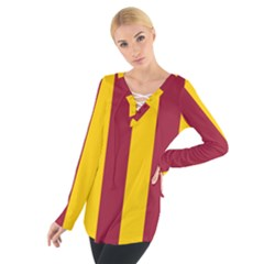 Red Yellow Flag Women s Tie Up Tee