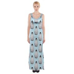 Penguin Animals Ice Snow Blue Cool Maxi Thigh Split Dress by Alisyart