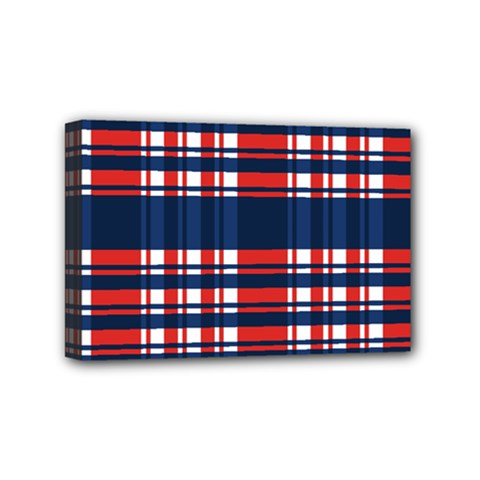 Plaid Red White Blue Mini Canvas 6  X 4  by Alisyart