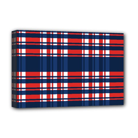 Plaid Red White Blue Deluxe Canvas 18  X 12   by Alisyart