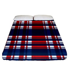 Plaid Red White Blue Fitted Sheet (king Size) by Alisyart