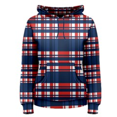 Plaid Red White Blue Women s Pullover Hoodie
