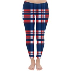 Plaid Red White Blue Classic Winter Leggings