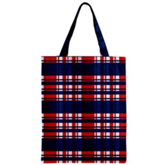 Plaid Red White Blue Zipper Classic Tote Bag by Alisyart