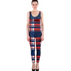 Plaid Red White Blue Onepiece Catsuit by Alisyart