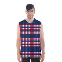 Plaid Red White Blue Men s Basketball Tank Top