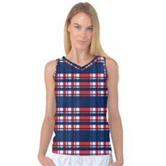 Plaid Red White Blue Women s Basketball Tank Top by Alisyart