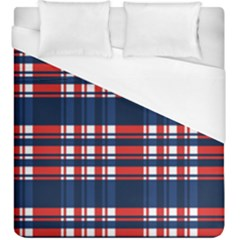 Plaid Red White Blue Duvet Cover (king Size) by Alisyart